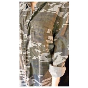 Express Boyfriend Style Camo Button Up